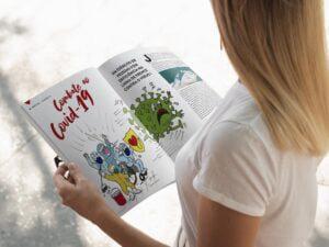 Mulher loira lendo a matéria especial