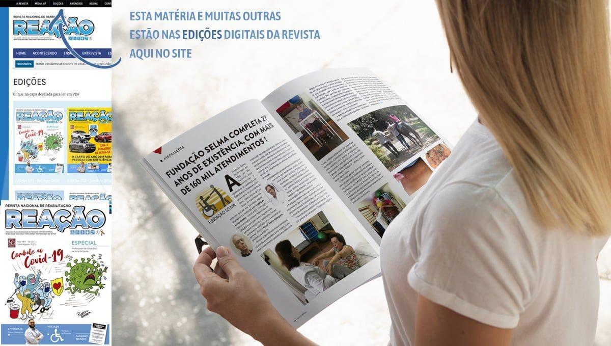 mulher lendo a matéria na revista