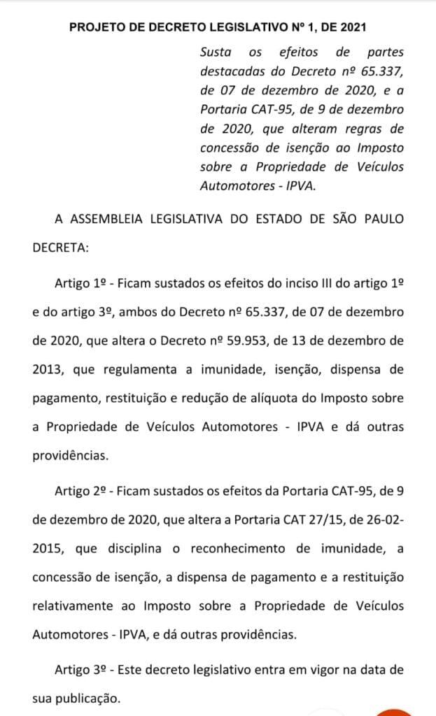 Projeto Carlos Giannazi permanência isenção do IPVA