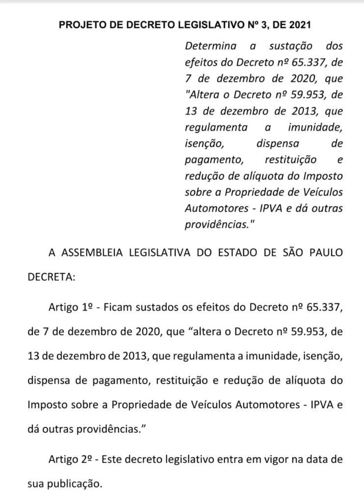 Projeto Danilo Balas permanência isenção do IPVA