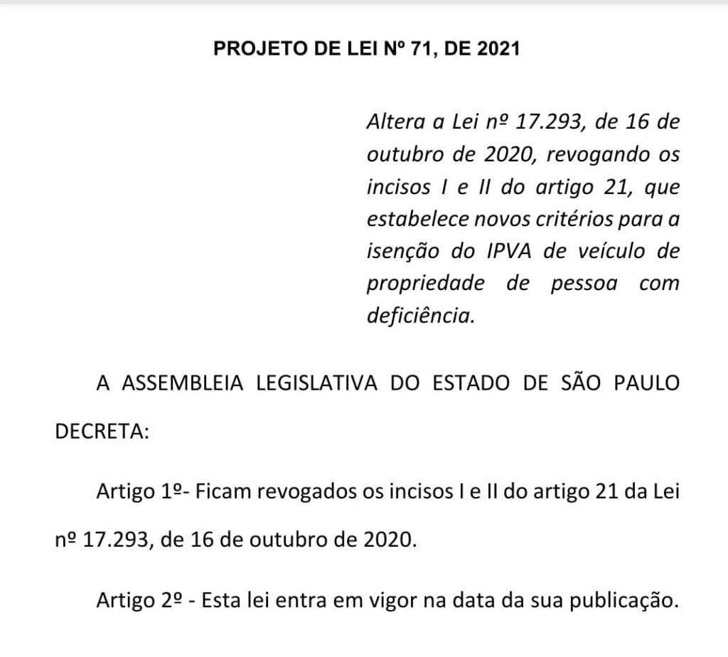 Projeto de lei Castello Branco permanência isenção do IPVA