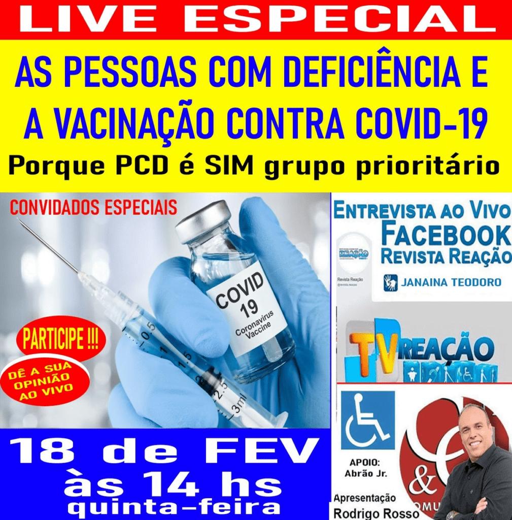 LIVE sobre PcD no grupo de vacinação