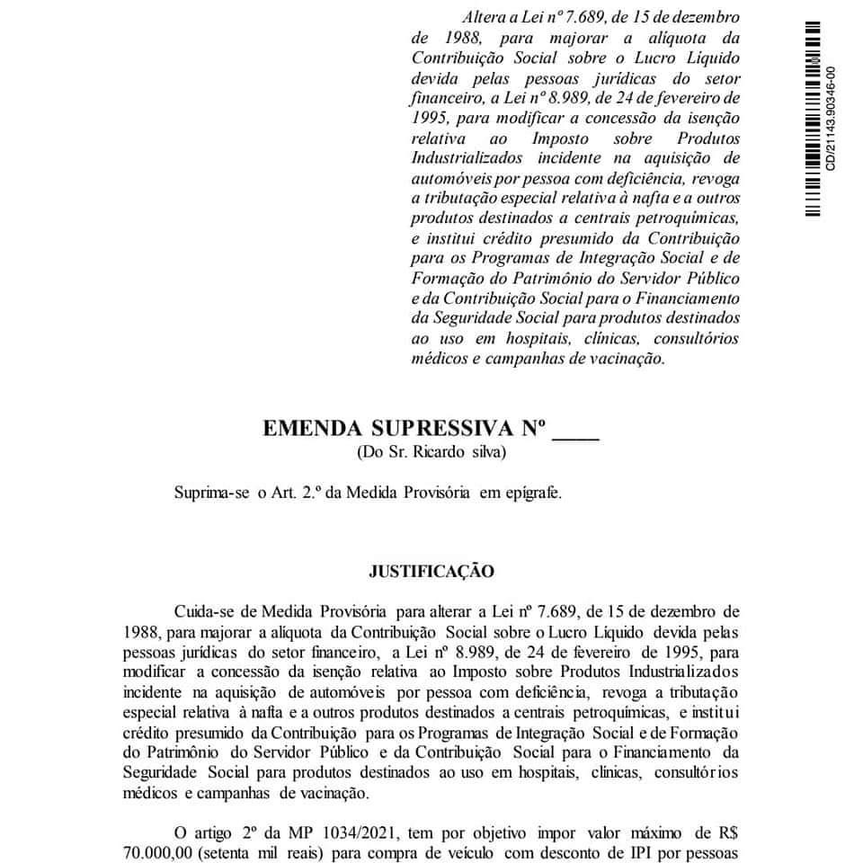 Emenda contra o Teto da isenção de IPI