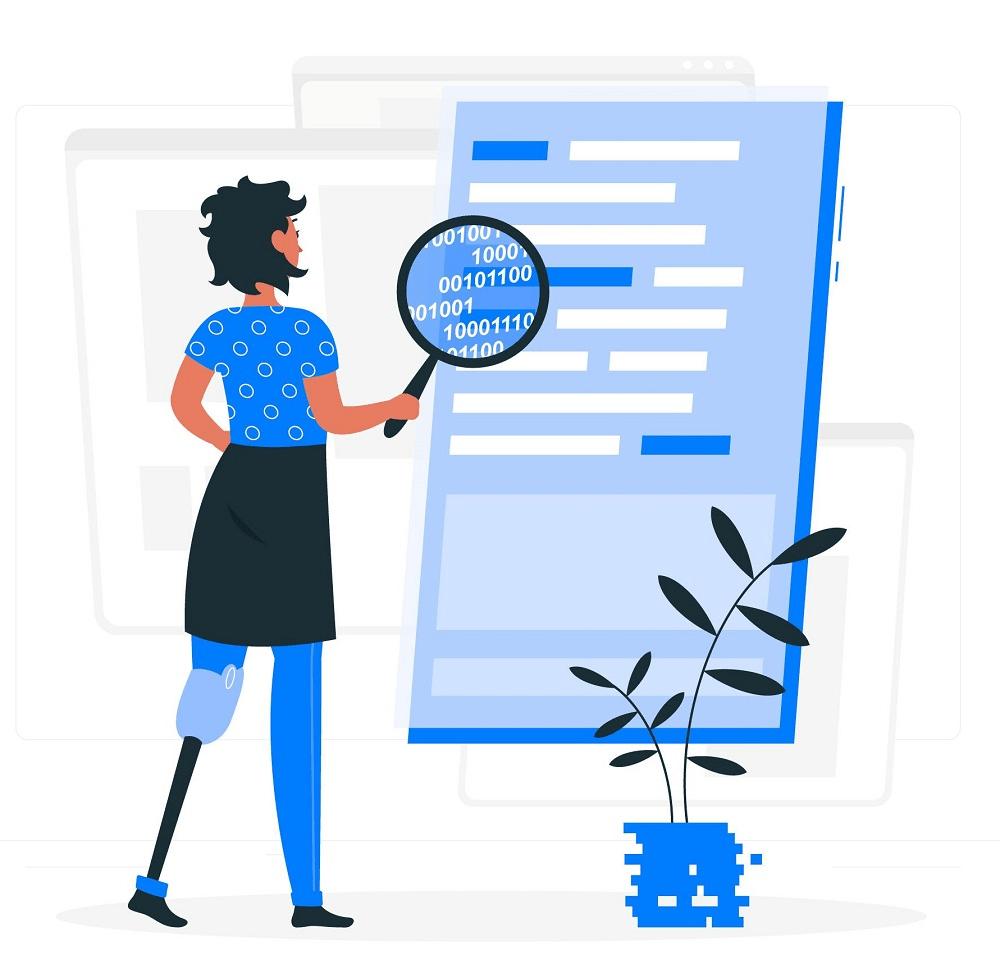 ilustração mulher com deficiencia lendo um site