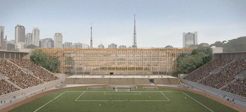 vista do estadio sem tobogã