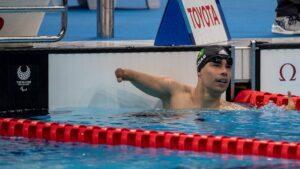 O nadador Daniel Dias após o termino da sua prova no Centro Aquático de Tóquio