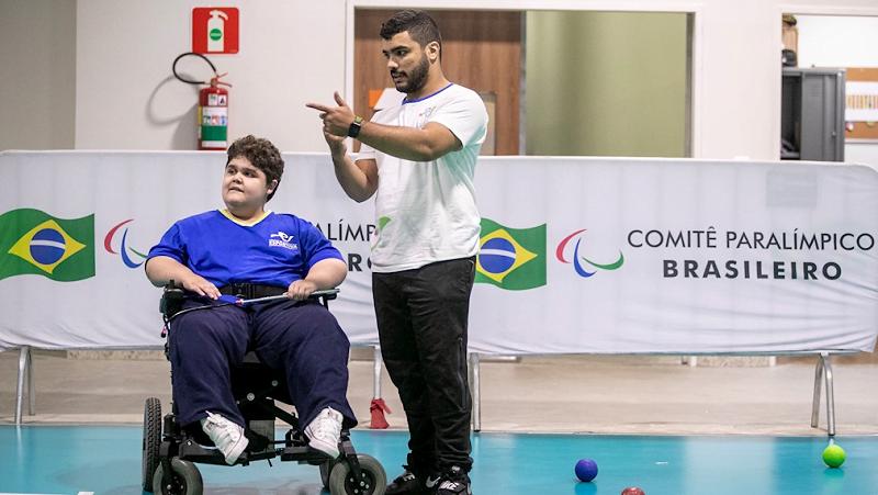 Aula de bocha da Escola Paralímpica de Esportes em março de 2020, no CT Paralímpico