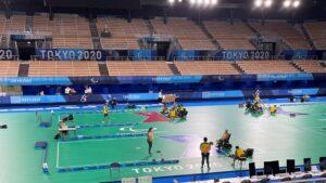 Primeiro treino da Seleção Brasileira da bocha no Ariake Gymmastics Centre, em Tóquio  