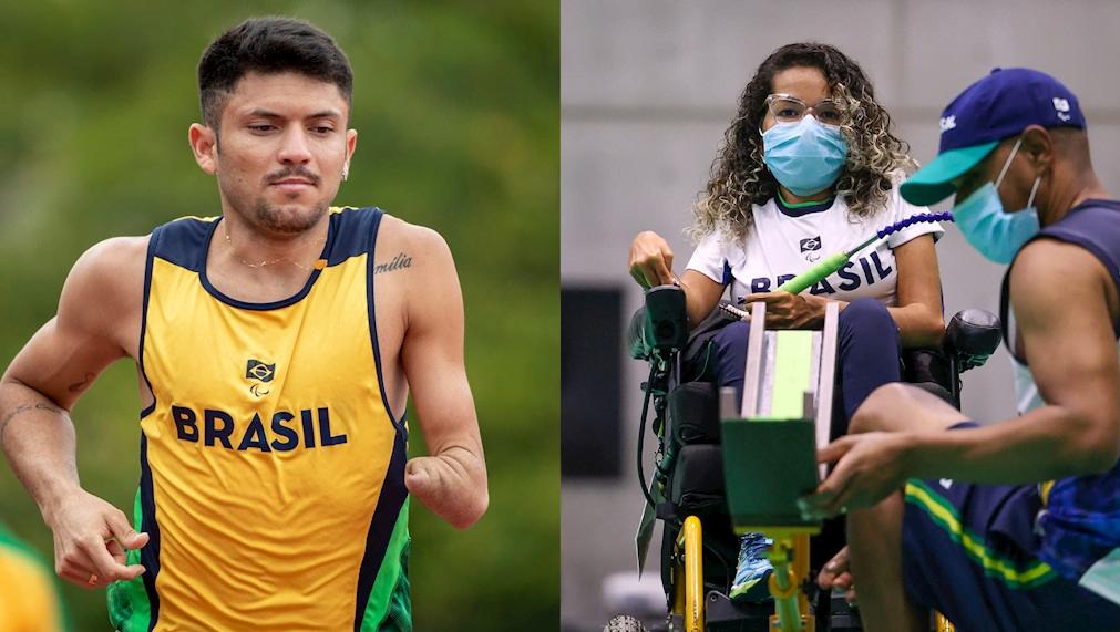 Os medalhistas paralímpicos Petrúcio Ferreira, do atletismo, e Evelyn Oliveira, da bocha
